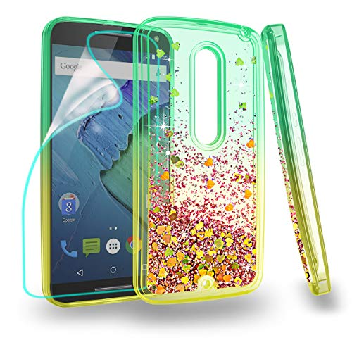 ZingCon Suit for Motorola X Style Case,XT1570,X Pure Edition Phone Case, with Quicksand Bling Adorable Shine,[HD Screen Protector] Shockproof Hybrid Hard PC Soft TPU Protective Cover-Green/Orange