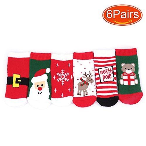 Elesa Miracle 6 Pairs Kids Toddler Baby Christmas Socks Xmas Winter Thicker Socks