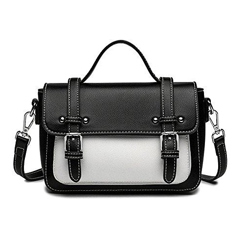 Simple Rétro Boucle de Ceinture Hit Couleur PU carré Sac à bandoulière Messenger Bag, Noir Loisirs