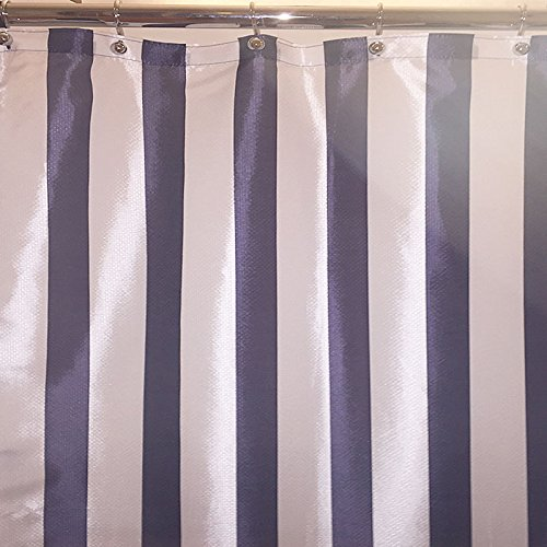 Cabana Stripe Shower Curtain (Extra Long Navy Hotel Cabana Stripe Fabric Shower Curtain (84
