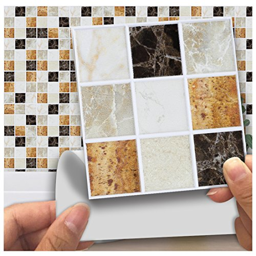 """APSOONSELL Mosaic Self Adhesive Wall Tile Peel and Stick Backsplash for Kitchen,Frosted marble mosaic(18pcs,3.94"""" 3.94"""")"""