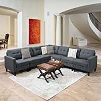Emma Mid Century Modern 7 Piece Dark Grey Fabric Extended Sectional Sofa