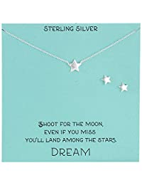 Sterling Silver Star Necklace and Earrings Jewelry Set