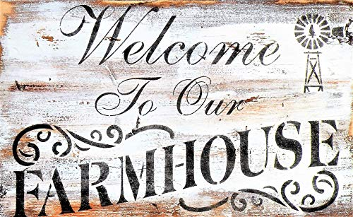 Hand Painted Welcome To Our Farmhouse Painting, Rustic Handmade Farmhouse Welcome Sign, Distressed Pine Wood Farm Quote Hand Painted Sign, Windmill Painting, Rusty Rooster Sign