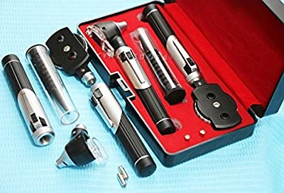 New LED- Mini FIBER OPTIC ENT DIAGNOSTIC SET Otoscope DOUBLLE HANDLE + 2 FREE BULBS ( CYNAMED BRAND )