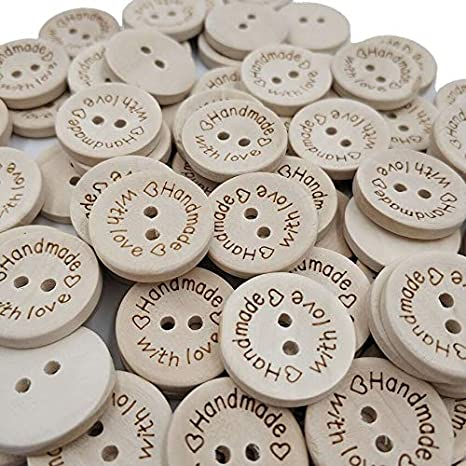 Black Flowers Round Wooden buttons sewing decoration craft scrapbook DIY 15mm
