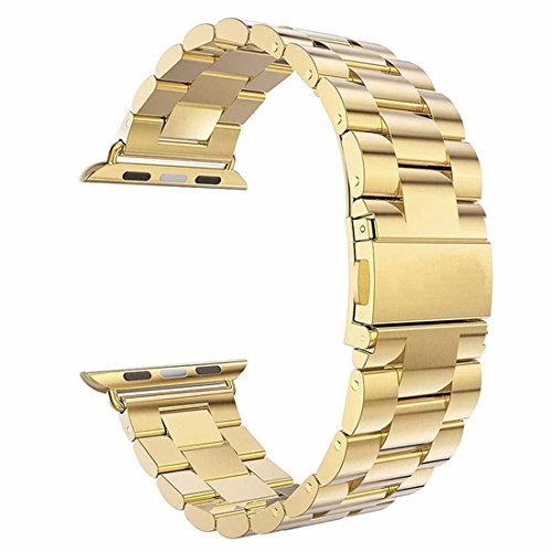 Watch Band, ANGGO Stainless Steel iwatch Strap Replacement Wristwatch Bracelet for Apple Watch Series 3 Series 2 Series 1 All Version (42mm / Gold)