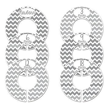 Closet Doodles Grey Chevron Gender Neutral Baby Closet Dividers Set of 6 Fits 1.25inch Rod (Ranged Months) Digitaldoodlebug