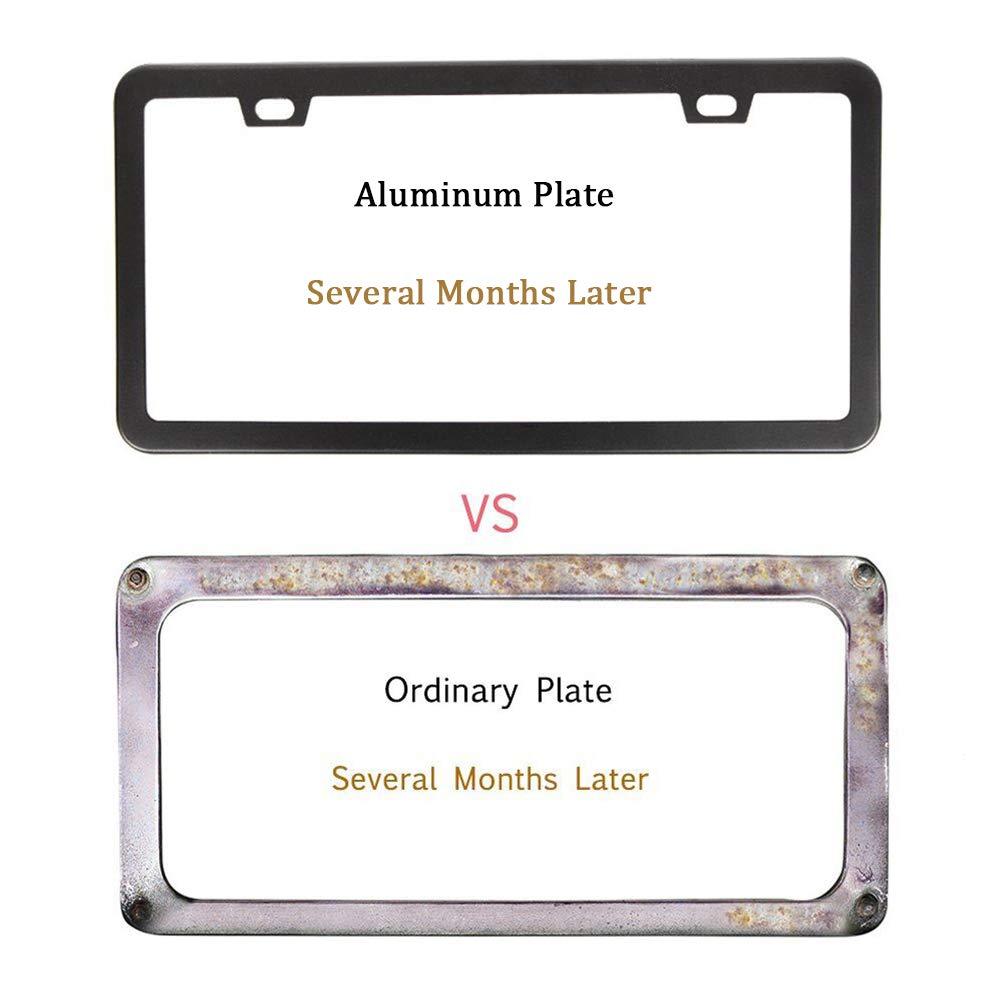 2 PCS Aluminum Car License Plate Holder Slim Design with Bolts Washer Caps for US Standard HanLanKa Matte Black License Plate Frame