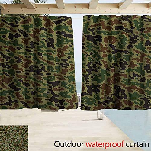Camo Window Blind - Zmcongz Camo Window Blind Summer Camouflage Pattern Grungy Texture Hidden in Jungle Retro Style Print Waterproof Patio Door Panel W55 xL63 Khaki Green Brown