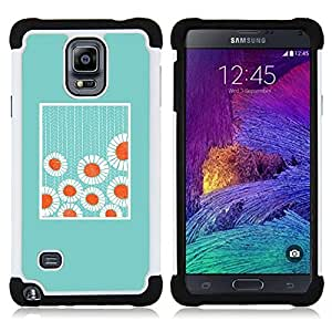 """Pulsar ( Minimalista Bebé Flores azules"""" ) Samsung Galaxy Note 4 IV / SM-N910 SM-N910 híbrida Heavy Duty Impact pesado deber de protección a los choques caso Carcasa de parachoques [Ne"""