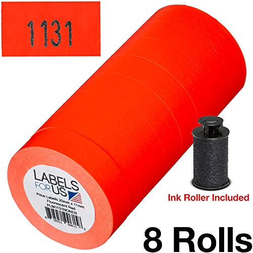 - Labels for Monarch 1131 Labeler - Fluorescent Red - 20,000 Labels - Pack with 8 Rolls - Ink Roller Included - Made by Labels for Us