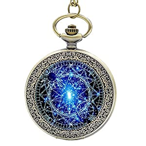 Stained Glass Bronze Pocket Watches-Steampunk Blue Magic Round Quartz Watch Chain,Gift for Him Her