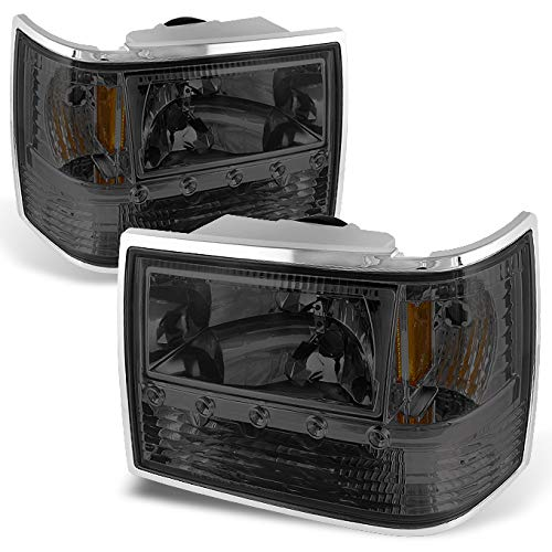 For 93-98 For Jeep Grand Cherokee Smoke 1 Piece DRL LED Headlights w/Corner Signal & Bumper Lamps Pair