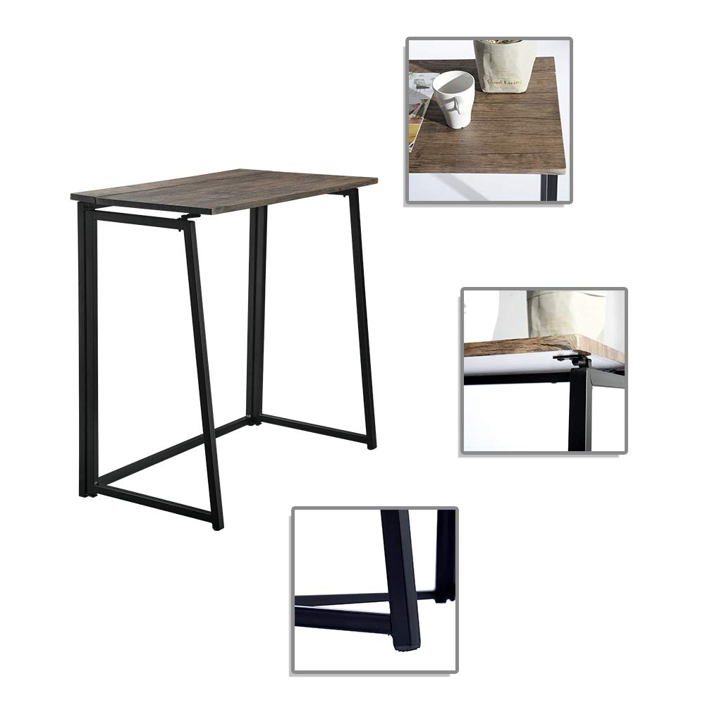 GreenForest Folding Desk Small Computer Writing Desk Foldable Laptop Table Workstation for Home Office Walnut Knewlife