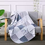 SLPR Coastal Dream Cotton Real Patchwork Quilted Throw (50'' x 60'') | Home Chic Multicolor Decorative Lap Throw Quilt for Bed Couch Sofa