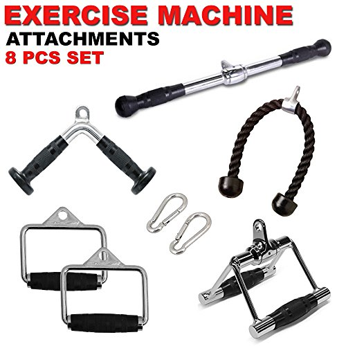 FITNESS MANIAC Muscle Bodybuilding Gym Exercise Strength Training Body Workout Machine Attachments Pull Down Bar Handle Pressdown Weightlifting Bar Combo 8PC Set by FITNESS MANIAC