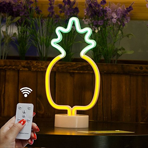 DELICORE Pineapple Neon Signs, LED Remote Control Neon Light with Holder Base for Party Supplies Girls Room Decoration Accessory for Luau Summer Party Children Kids Gifts (RC Pineapple with Holder)