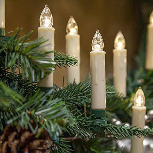 Set of 10 Flameless Electric LED Candles - Clip-On Christmas Tree Lights - Battery Operated, Remote Controlled, Dimmable, Flickering and Steady Light (3.5 Tall)
