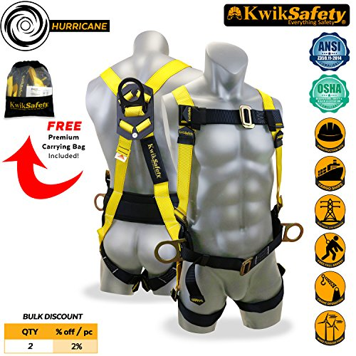 Fall Arrest System - KwikSafety HURRICANE 3D Premium Fall Protection Body Safety Harness w/ Back Support | OSHA Approved ANSI Compliant Industrial Roofing Tool | Construction Free Fall Arrest Personal Protection Equipment