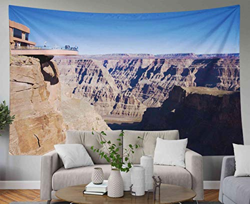 Musesh Hanging Wall Tapestry, Landscape Tapestry Wall Hanging for Bedroom Living Room Decor Inhouse Walk at west Rim of Grand Canyon 60x50 Inches Size]()