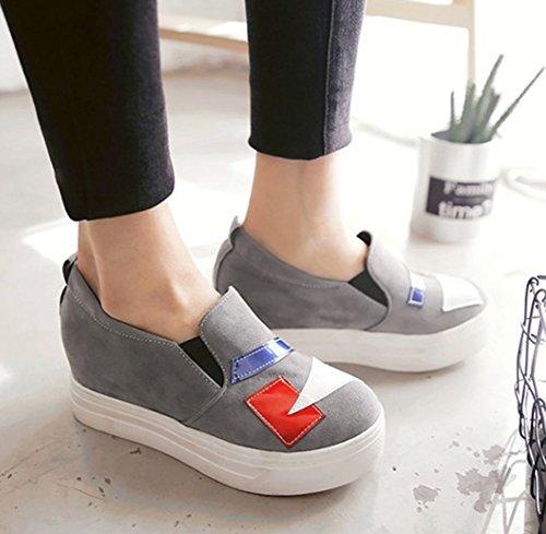 Aisun Kvinna Komfort Tillfällig Rund Tå Hiss Tjock Sula Halka På Plattforms Sneakers Mitten Krängt Dagdrivare Skor Grå