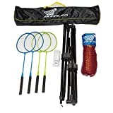 Bogalen Height Adjustable Badminton, Tennis, or Volleyball Portable Net Stand with 14-Feet Net, 4 Badminton Rackets and 3 Shuttlecocks for Family Outdoor Games