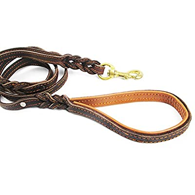 Leather Dog Leash with Double Handle, Focuspet 6Ft Braided Leather Dog Leash with Traffic Handle,Heavy Duty,Lead for Large/Medium Dogs, Greater Control Safety Training, Protect Dog in Traffic
