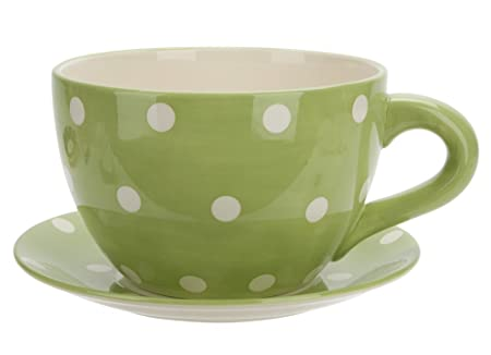 Ethos Spot Pots Giant Cup and Saucer Planter, Green: Amazon.co.uk ...