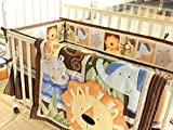 NAUGHTYBOSS Baby Bedding Set Cotton 3D Embroidery Africa Lion Pattern Quilt Bumper Bed Skirt Mattress Cover 7 Pieces Set Multicolor