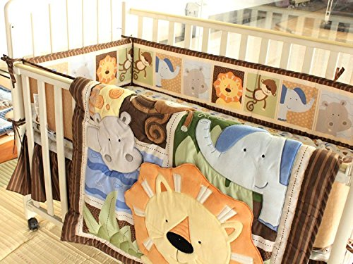 NAUGHTYBOSS Baby Bedding Set Cotton 3D Embroidery Africa Lion Pattern Quilt Bumper Bed Skirt Mattress Cover 7 Pieces Set Multicolor by NAUGHTYBOSS (Image #9)