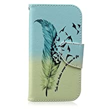 S4 Case, Galaxy S4 Case, SATURCASE Unique Feather Pattern PU Leather Flip Magnet Wallet Stand Card Slots Case Cover For Samsung Galaxy S4 SIV