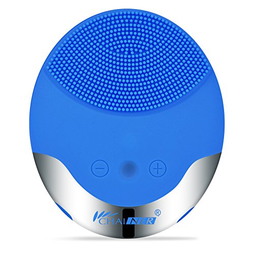 Chainer Sonic Face Cleanser -Massager Brush Facial Cleansing & Massager Silicon Vibrating Waterproof Facial Cleansing System with USB Rechargeable (Blue)