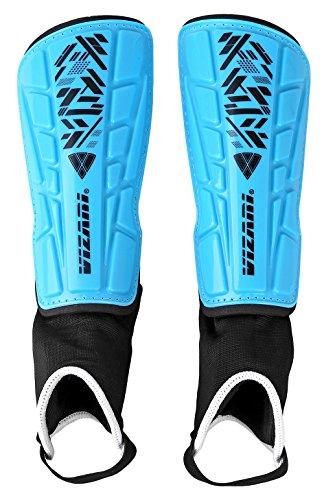 Vizari Malaga Soccer Shin Guards | Soccer Gear | Lightweight Protective Gear | Easily Adjustable Straps | Blue/Black M