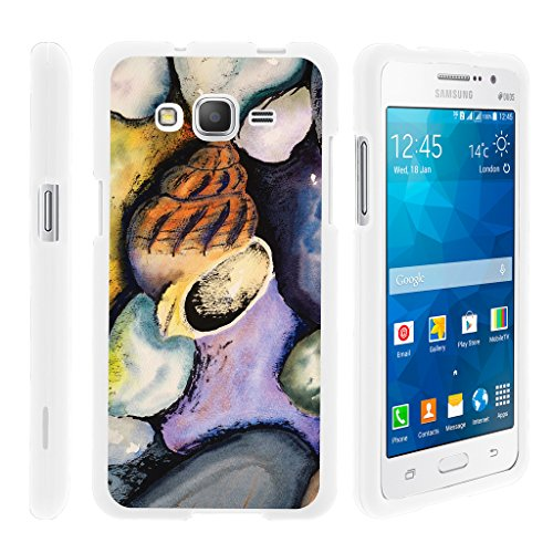 Compatible for Samsung Galaxy Grand Prime Case | G530 | Go Prime [Slim Duo] Hard Shell Snap On Case Compact Fit Cover Matte on White Sea Ocean Design by TurtleArmor - Sea Shells