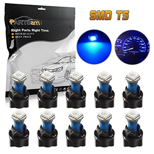 Partsam T5 73 74 5050 SMD Instrument Panel LED Light Gauge Cluster Indicator Bulbs Dash Light with Twist Socket, Blue, Pack of 10