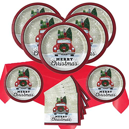 Christmas Disposable Dinnerware Set for Your Holiday Christmas Party - Retro Red Truck - Premium Dinner Plates, Dessert Plates, Napkins, Table Cover - 105 Piece (Service for 24) -