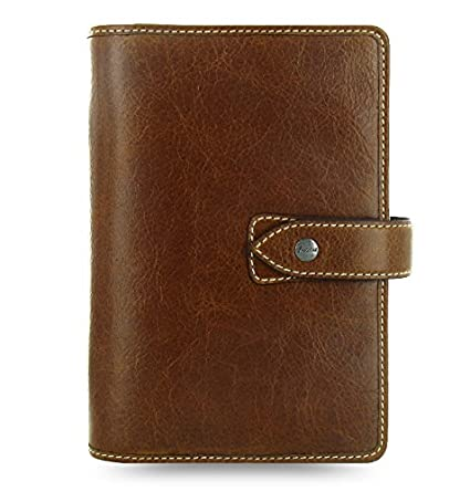 Filofax Malden Leather Organizer Agenda Planner Ring Binder Calendar with DiLoro Jot Pad Refills (Ochre 2019-2020, Personal Paper Size 6.73
