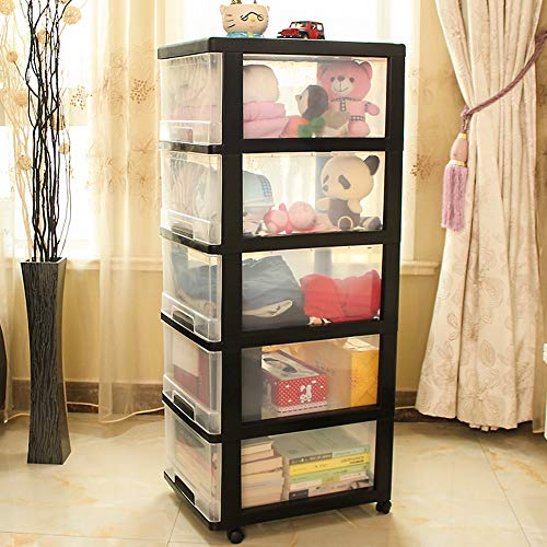 (Shozafia 5-Drawer Rolling Storage Cart on Wheels, Craft Storage Containers Bins, Black Frame & Clear Storage)