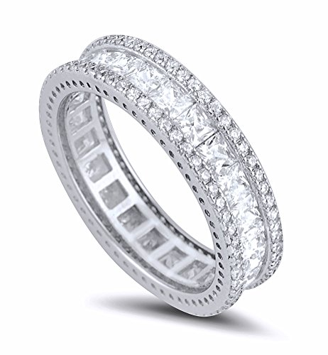 Sterling Silver Simulated Diamond Princess-Cut Center and Round Edge Eternity Ring (Radiant Cut Center)