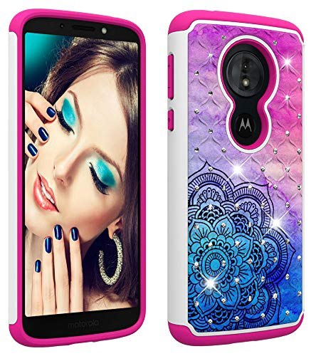 Wiitop Compatible Motorola Moto G6 Play Case,Moto G6 Forge Case [Heavy Duty] Tough Dual Layer 2 in 1 Rugged Rubber Hybrid Hard Plastic Soft TPU Back Protective Cover with Glitter Crystal Colour Datura ()