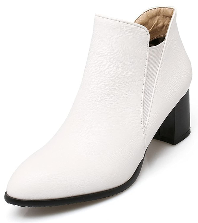Women's Stylish Pointed Toe Elastic Block Medium Heel Ankle High Slip on Chelsea Boots