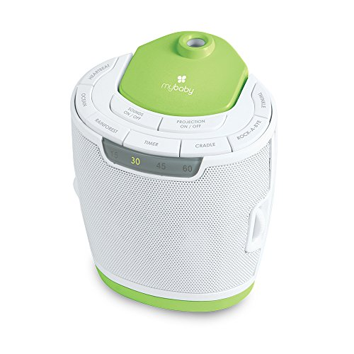 MyBaby, SoundSpa Lullaby Sound Machine & Projector | Choose From 6 Soothing Sounds & Nursery Lullabies | Rotating Picture Projector & 3 Image Disks | Convenient Disk Storage & Auto-Off Timer by myBaby