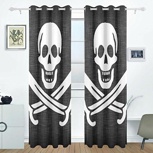DEYYA Linen Pirate Fla Curtains Drapes Panels Darkening Blackout Grommet Room Divider for Patio Window Sliding Glass Door 55x84 Inches,Set of 2