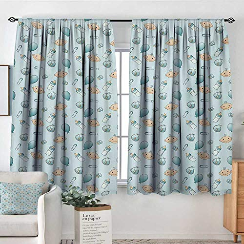 All of better Baby Custom Curtains Infant Head with Balloons Pacifiers and Milk Bottles Newborn Inspired Kid Blackout Curtains 55