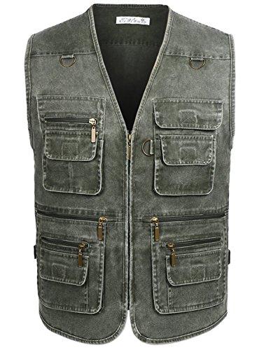 - Eidlvais Men's Multi-Pockets Vest for Outdoors Travels Sports Green Size XL