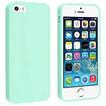 Fanmis TPU Rubber Skin / Hard Case Compatible with Apple Iphone 5 / 5s, Mint Green Jelly / Sky Blue Water-drop Raindrop