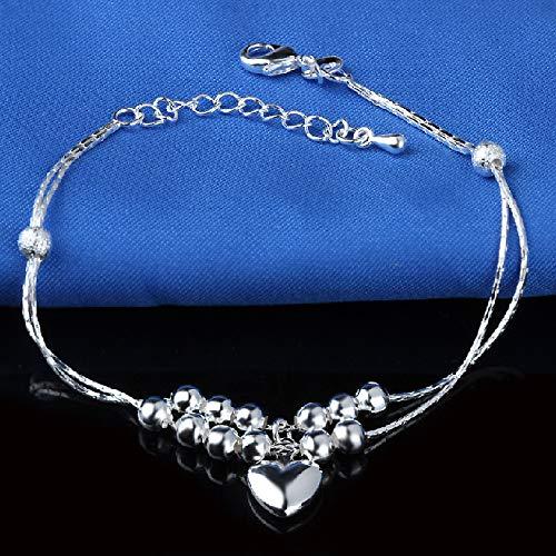 Gkmamrg Lot de 6 Bracelets de Cheville en Argent plaqu/é Or avec Boule en Forme de c/œur