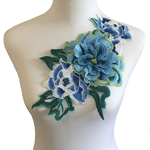 Embroidered 3 D Stickers - 3D Flowers Embroidered Patch Sticker for Clothing Jacket Jeans Lace Applique DIY Clothes Decorations Fabric Patches (Color E Blue)