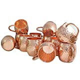 Panchal Creation Gifts Set of 12, Moscow Mule Mugs - 100% Pure Solid Copper Mugs 17 oz in Barrel Shape, Handcrafted Hammered Copper Cups